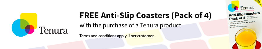 FREE Anti-Slip Coasters with the purchase of a Tenura product.